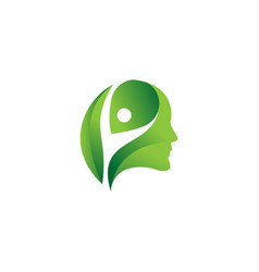 Head people with leaf logo design vector