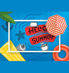 hello summer travel concept with white frame vector image