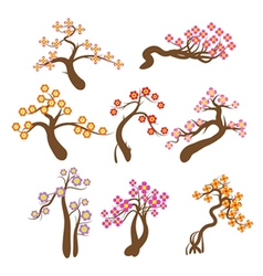Highly detailed spring trees and flower vector