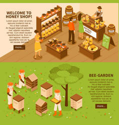 Honey yard isometric banners set vector