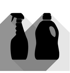 Household chemical bottles sign black vector