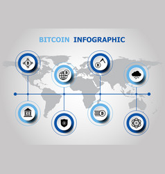 Infographic design with bitcoin icons vector