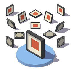 Isometric square picture frame vector