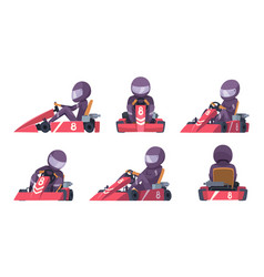 karting car street speed racers competition sport vector image