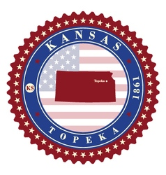 Label sticker cards of State Kansas USA vector image