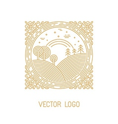 landscape in linear style vector image