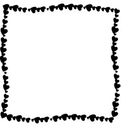 love twisted frame made of black hearts isolated vector image
