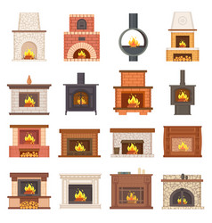 Luxurious stylish brick and wooden fireplaces set vector