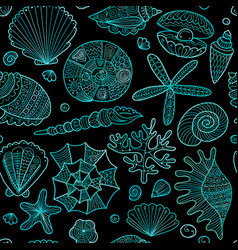 marine seamless pattern ornate seashells for your vector image