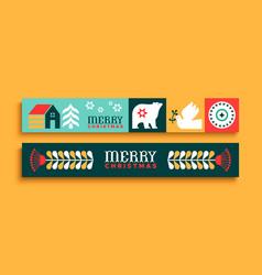 merry christmas thin web banner set folk art icon vector image