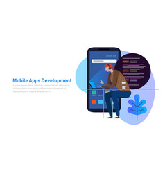 Mobile app development programmer code on laptop vector