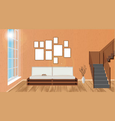 Mockup living room interior with empty frames vector