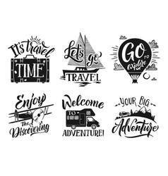 monochrome travel labels set with hand writing vector image
