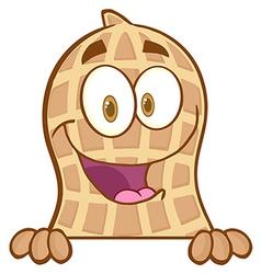 Peanut Mascot Character Condom Over A Sign vector image