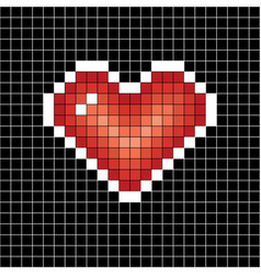 pixel art heart love sign on black in white cell vector image