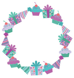 Purple birthday items wreath vector