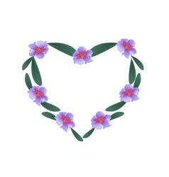 Purple Rhododendron Flowers in A Heart Shape vector