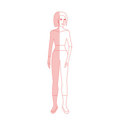 Red silhouette shading cartoon full body woman vector