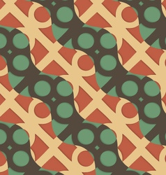 Retro 3D green and brown waves and circles vector image