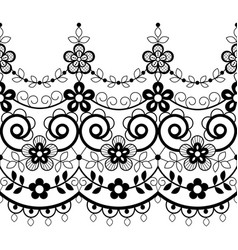 Retro lace seamless pattern monochrome decoration vector
