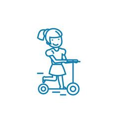 riding a scooter linear icon concept riding a vector image
