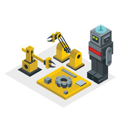 Robot factory in isometric style vector