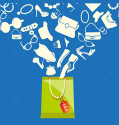 sale shopping bag with set of women fashion vector image