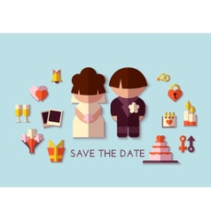 save the date set Flat design vector image