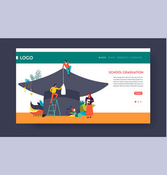 school graduation web page template students and vector image