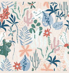 seamless tropical pattern jungle summer vector image