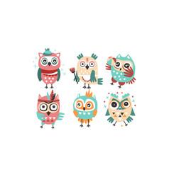 set humanized stylish owls vector image