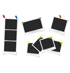 Set of realistic photo frames on sticky tape vector