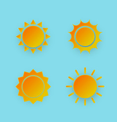 set of sun icon paper art style vector image