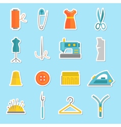 Sewing equipment stickers vector image
