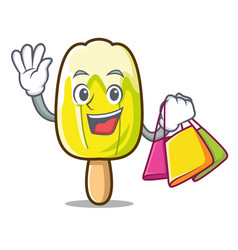 Shopping lemon ice cream character cartoon vector