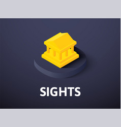 sights isometric icon isolated on color vector image