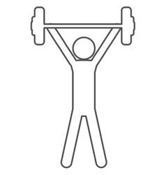 Silhouette with man weightlifting up vector
