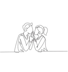 single continuous line drawing young beautiful vector image