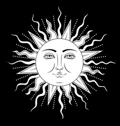 sun with human face symbol vector image