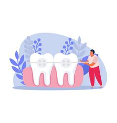 teeth flat composition vector image
