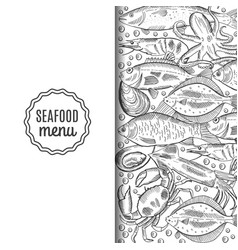 Template of the fish menu for the restaurant vector