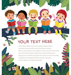 Template with kids on tree branch reading book vector