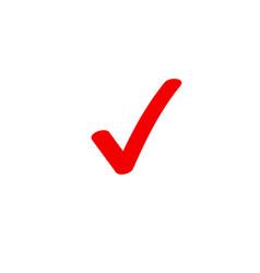 tick icon symbol marker red checkmark vector image