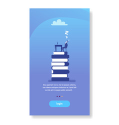 tired businessman sleeping workplace book stack vector image