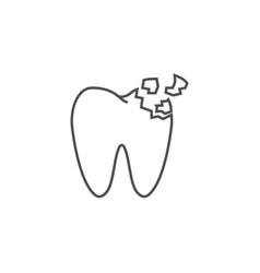 tooth crash line icon vector image