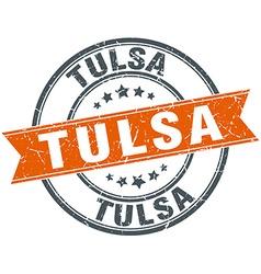 Tulsa red round grunge vintage ribbon stamp vector