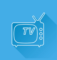 tv icon in line style isolated on blue background vector image