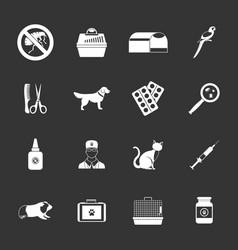 veterinary icons set grey vector image