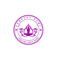 vintage retro lotus yoga meditation logo design vector image