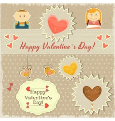 Vintage Valentines Day Card with Sweet Hearts vector image